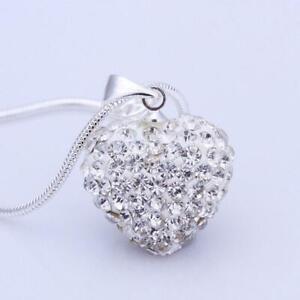 dame-pierre-les-femmes-crystal-argente-l-039-amour-collier-pendentif-c-ur