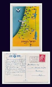 AVIATION ISRAEL MAP EL AL AIRLINES MARCH 3 1957 TO COLUMBIA HEIGHTS BROOKLYN NY
