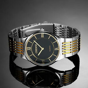 Silver-Stainless-Steel-Case-Black-Dial-Luxury-Mens-Man-Quartz-Wrist-Watch-Gift