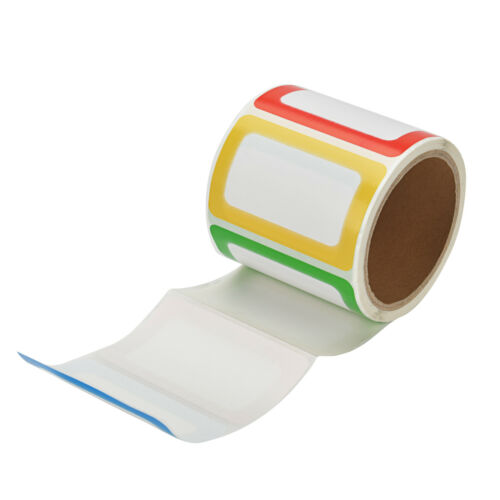 1 Roll Plain Name Tag Labels 200 Stickers Colorful School Office Camp Party