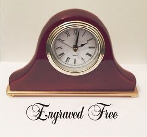 Personalized Desk Clock Wood Piano Finish With Alarm Engraved Free