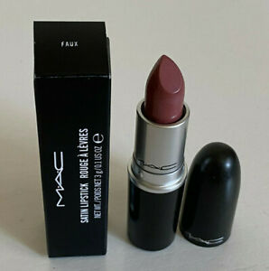 NEW-AUTHENTIC-MAC-SATIN-LIPSTICK-FAUX-Muted-Mauve-Pink-SALE