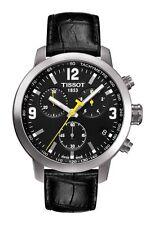 T0554171605700 TISSOT PRC 200 MEN'S WATCH BLACK CHRONOGRAPH BLACK LEATHER STRAP