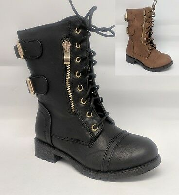 Girls Youth Kids Combat Military Lace Up Ankle Boot #Paper-50K