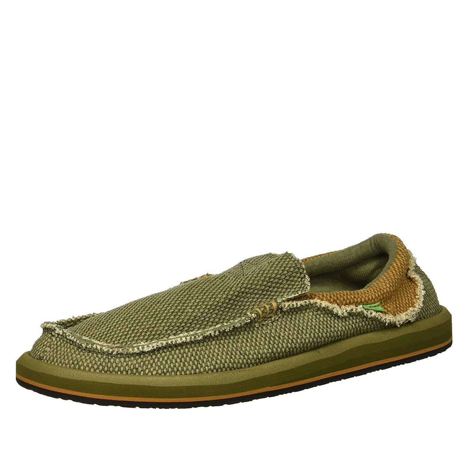 Sanuk Chiba Army Green/Brown Men's Slip On Sidewalk Surfers SMF1047