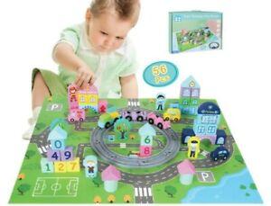 56PC Enfants En Bois Blocs De Construction Train Railway ville Bloque Set éducation précoce