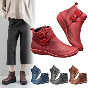 Women-Winter-Snow-Boots-Leather-Ankle-Spring-Flat-Shoes-Short-Boots