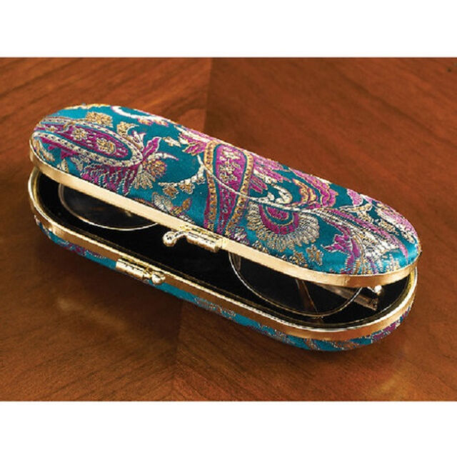 """Teal Paisley EYE GLASSES Hard CASE NEW In Pkg Deluxe eyeglasses 6"""" L With MIRROR"""