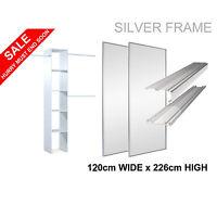 2 Silver 'stanley Design' Sliding Mirror Wardrobe Door & Storage