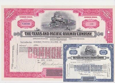 Make offer! Free shipping Texas /& Pacific Railway Common Stock Certificate