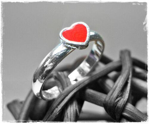 Neu RING KINDERRING mit einem HERZ in rot//silber GRÖßENVERSTELLBAR