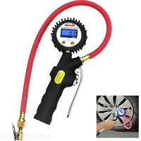 Tire Inflator With Digital Pressure Gauge And Straight Lock On Open Air Chuck