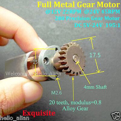 DC 5V-24V 12V 45RPM Full Metal Gearbox Motor Mini Speed Reduction Gear Motor DIY