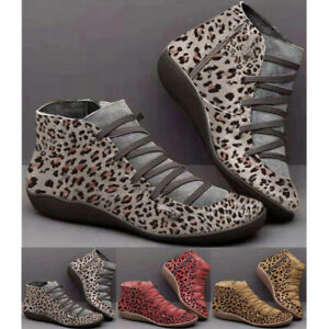 women arch support zip ankle boots fashion leopard laceup