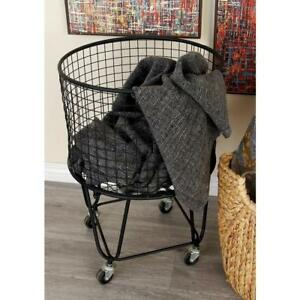 Rolling Metal Wire Laundry Basket