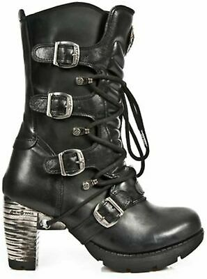 NewRock NEW ROCK M.NEOTR008-S1 BLACK REAL LEATHER GOTHIC ROCK STEAM PUNK BOOTS