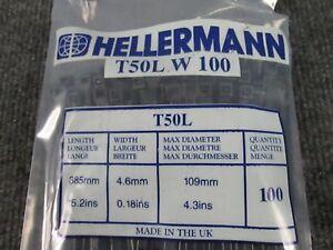 HELLERMANN-TYTON-T50L-Blk-Cable-Tie-Polyamide-6-6-385MM-PK100-1-Lot-of-5