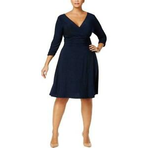 New-70-value-NY-COLLECTION-1X-deep-blue-stretch-knit-3-4-slv-fit-amp-flare-dress