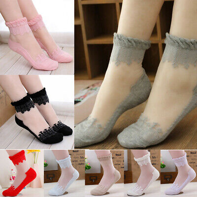 New Women Cute Ultrathin Transparent Crystal Silk Lace Elastic Short Ankle Socks