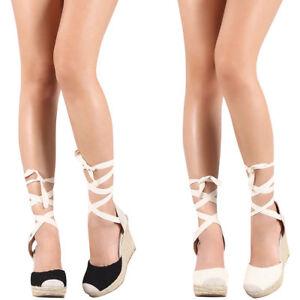6950d19e8703 New Women s Leg Wrap Lace Up Crochet Espadrille Wedge Platform Heel ...