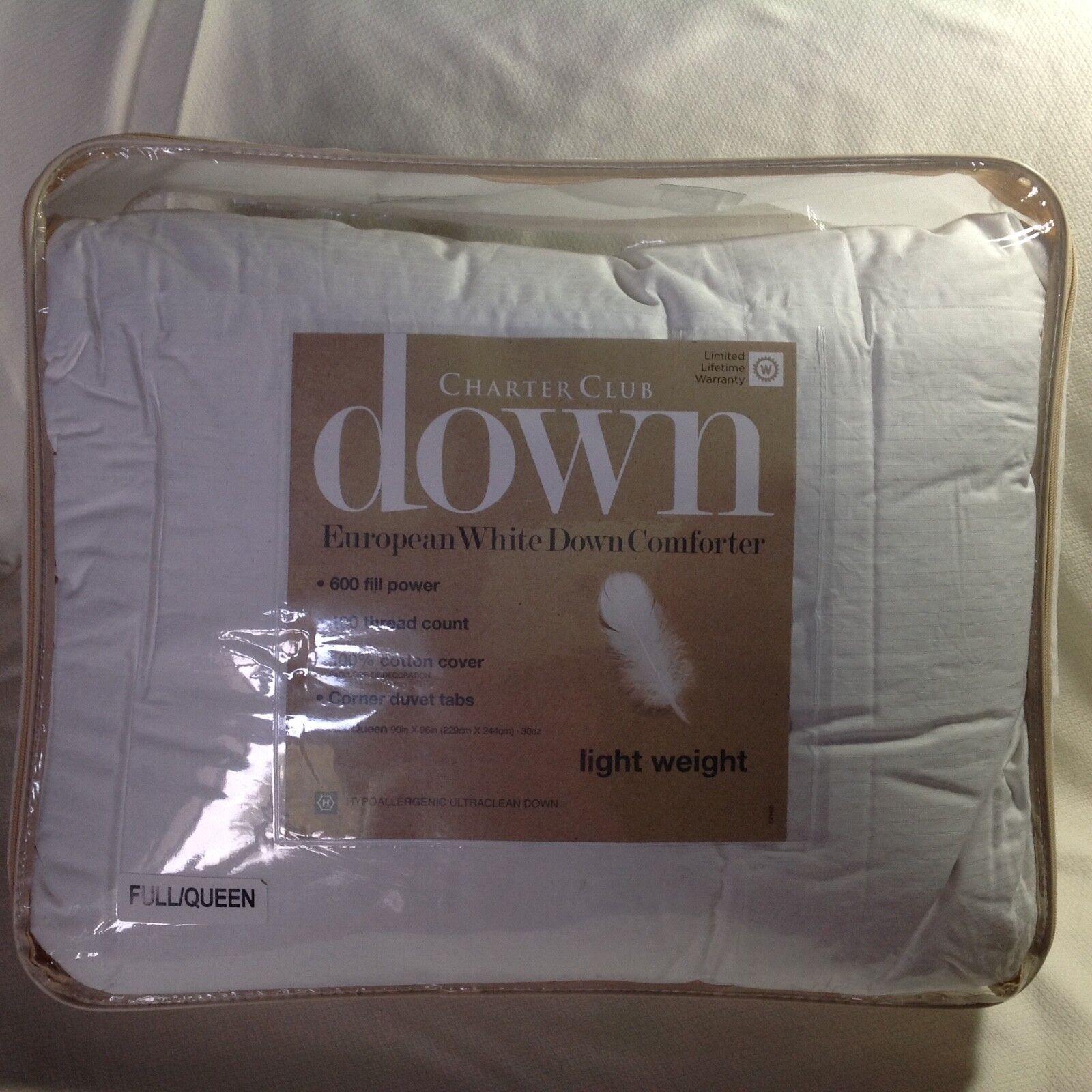 Charter Club European Weiß Down Comforter Lightweight Full Queen   300