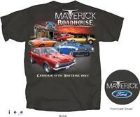 Ford Maverick Roadhouse Men's T-shirt Gray Official Licensed 302 Grabber
