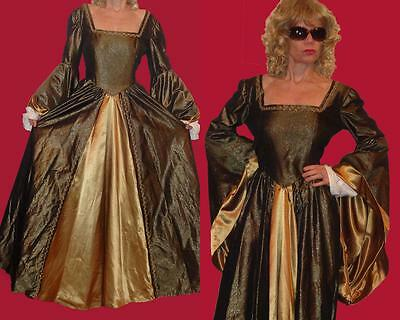 Renaissance Medieval Gothic Costume Gown metallic green & bronze wide sleeves L?