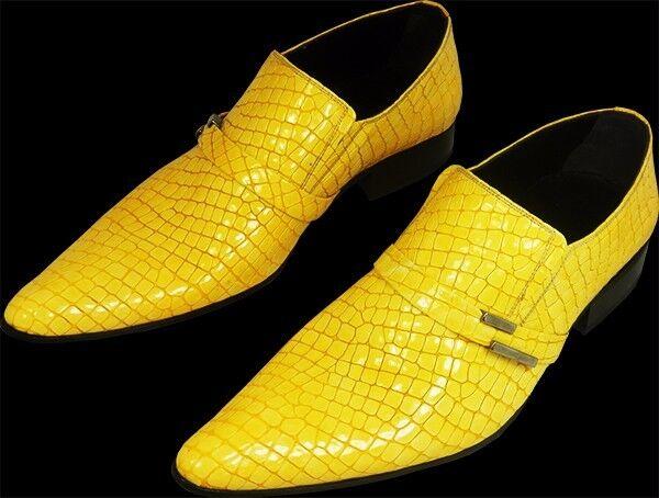 Original Chelsy - Italienischer Designer Slipper Kroko Kroko Kroko Mais gelb handmade 40 03172c