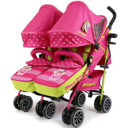 Baby Pink Rain Cover Changing Bag Twin Double Buggy Stroller Pushchair Pram
