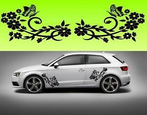 2x-flowers-Butterfly-car-bike-window-f3-STICKER-DECAL-VAN-CAR-COLOUR-DUB-JDM