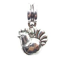 Rooster Chicken Dangle Large Hole Add a Bead Slider for European Charm Bracelet