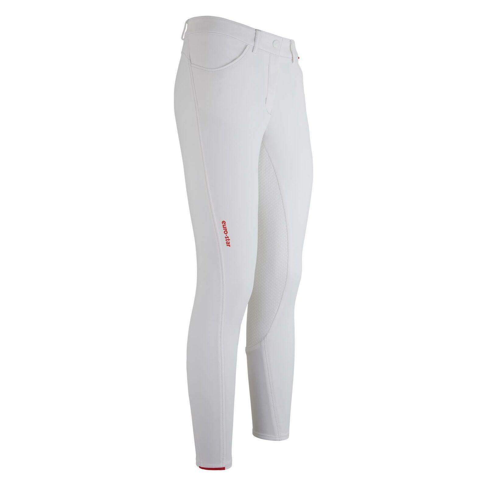 EUROestrella Donna fama Pantaloni da equitazione, BiancoFULL GRIP
