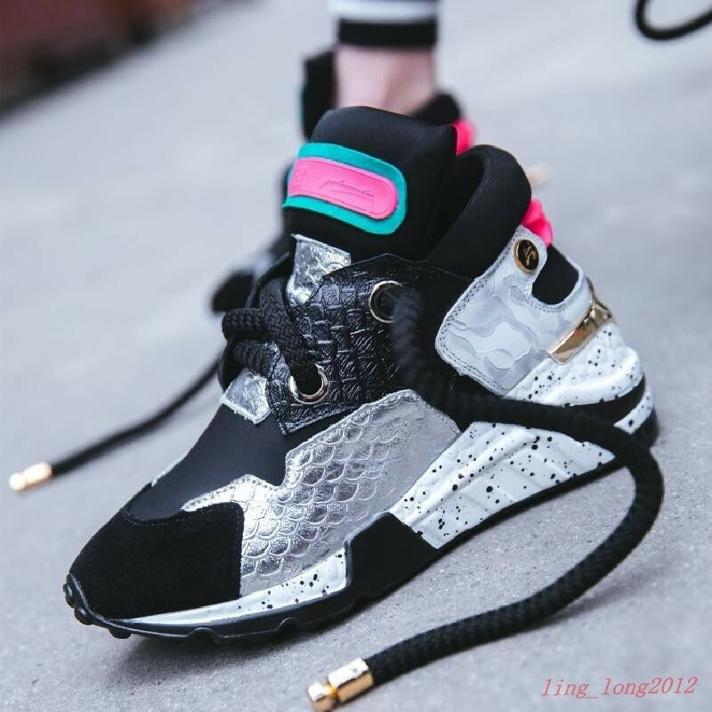 Vogue Women Sneakers Round Toe Lace Wedge Heel College Athletic Running shoes