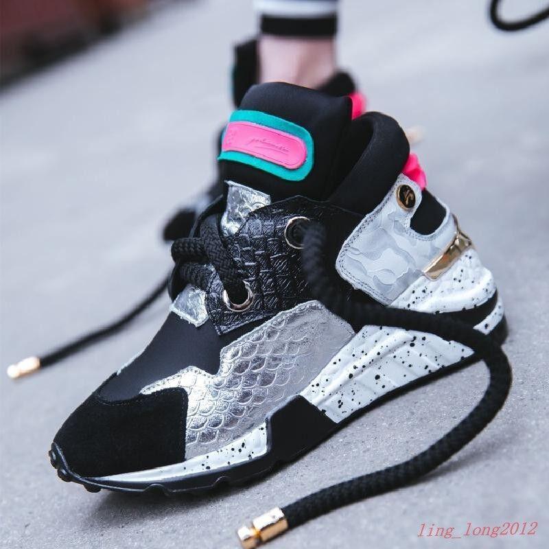 Zapatillas de de de Moda para Mujeres de Encaje Punta rojoonda Tacón de cuña Zapatos de entrenamiento atlético de la Universidad  Mejor precio