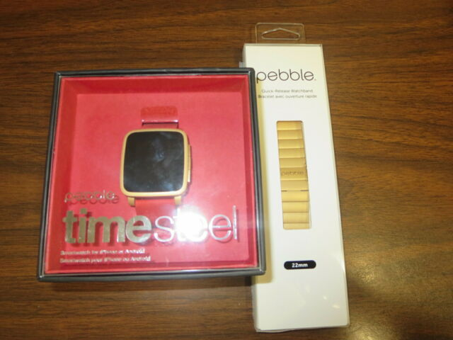 Pebble Time Steel Smartwatch for Apple/Android Devices - Gold + 22mm Steel band