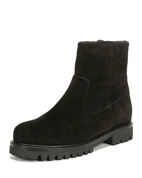 NIB VINCE Frances 35 zip suede & shearling ankle boots lug sole black  425