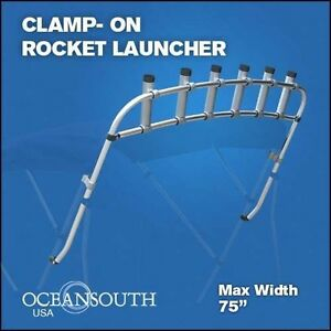 Oceansouth clamp on fishing rack boat rod rack rocket for Fishing rocket launcher