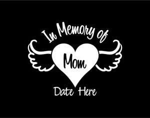In Memory Of Mom Heart With Angel Wings Custom Vinyl Window Decal