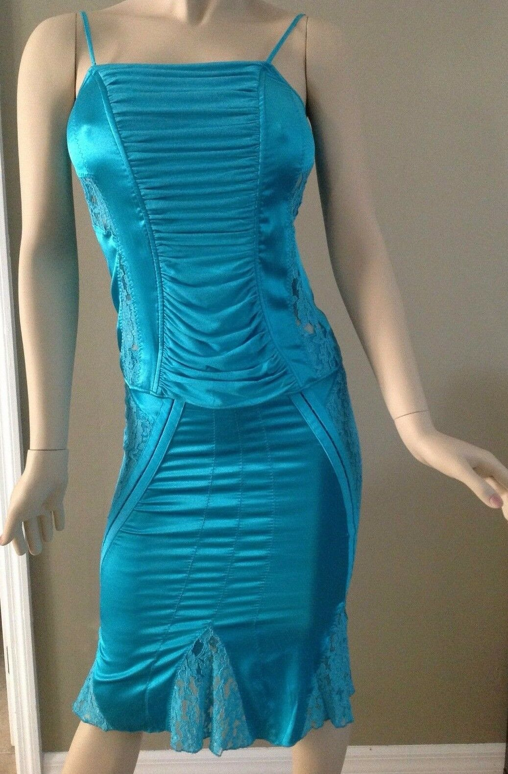 Marciano  Turquoise Silk & Lace Floral Corset Top Size M & Skirt Size 0