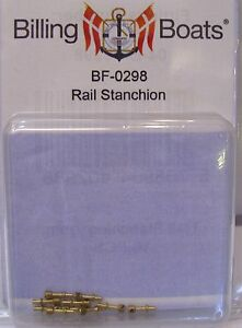 Billing-Boats-Accessory-BF-0298-7mm-Handrail-Stanchions-x-10-Brass-New-Pack