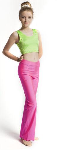 Florescent Flo Pink Nylon// Lycra DANCE Jazz Pants UK size 10 Hot Bright Pink