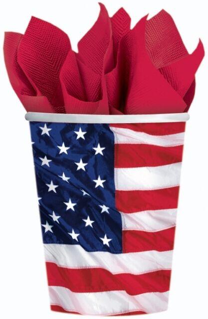 8 Einweg Papp Becher USA Party Dekoration Tisch Deko 266 ml