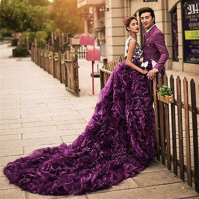 Purple Long Train Wedding Dress Quinceanera Formal Prom Party Pageant Ball Gown
