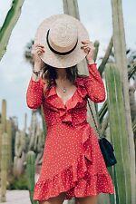 ***Red Star Silk Wrap Dress SZ M Fits Like S***