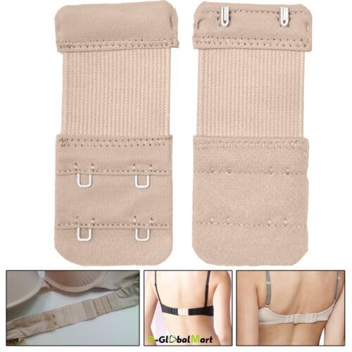 2 Hooks Ladies Bra Extender Extension Elastic Back Clips Strap Strapless Beige