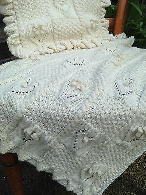Baby Roses and Hearts Blanket Cushion Knitting Pattern DK Pram/Cover  433