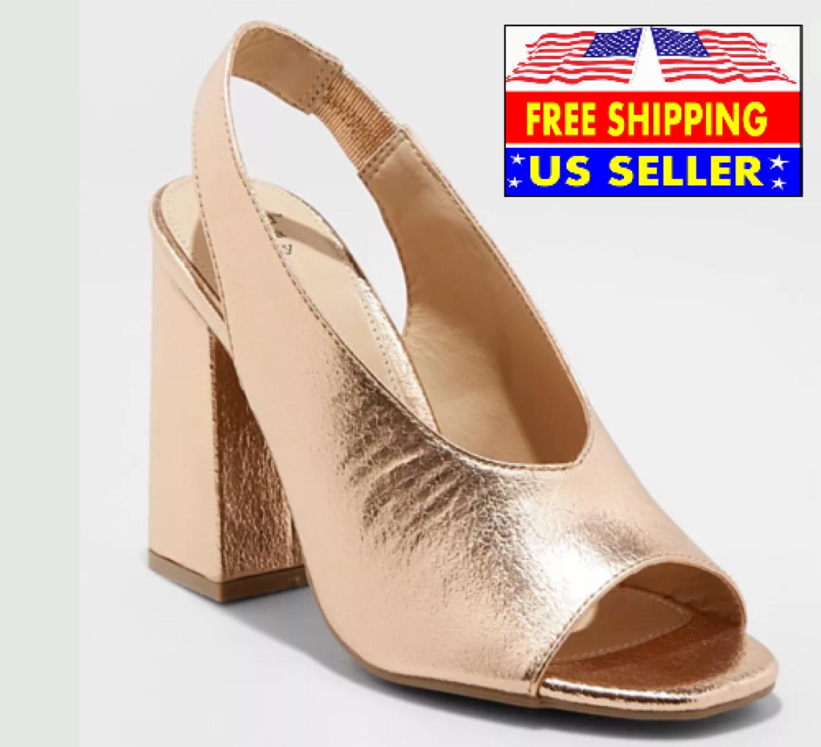 * Un nouveau jour Valerie or rose Pompe Talons Hauts Métallique Chaussures Bout Ouvert