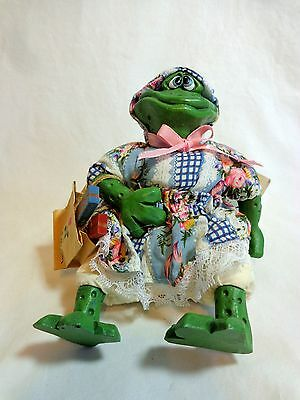 "Russ COUNTRY FOLKS FROG Figurine FERGIE  5"" Shopping Girl Plush Beanbag 2184"