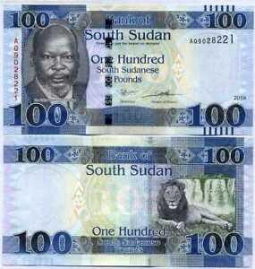 SUDAN 100 POUNDS 2019 P-NEW UNC LOT 5 PCS