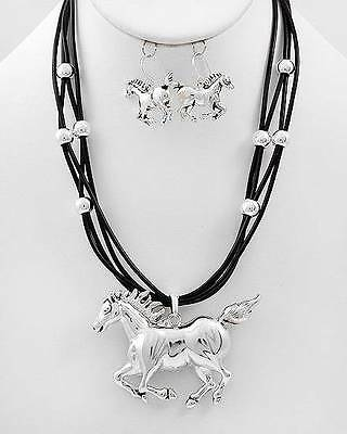 Western Multi Strand Horse Pendant Cowgirl Necklace Earring Jewelry Set